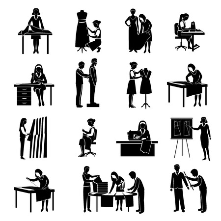 tailor shop: Dressmaker black icons set with tailor and fashion designer with customers isolated vector illustration