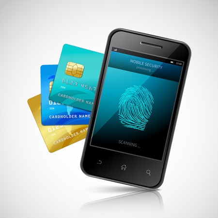 biometric: Biometric mobile payment concept with realistic smartphone with fingerprint login application and credit cards set vector illustration Illustration