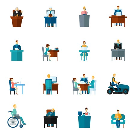 sedentary: Sedentary life inactive lifestyle passive living icons flat set isolated vector illustration Illustration
