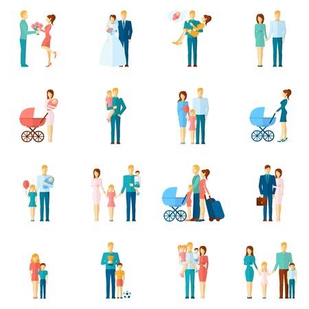 pareja casada: Iconos de la familia fijados con símbolos de relación par de personas casadas aislado ilustración vectorial Vectores