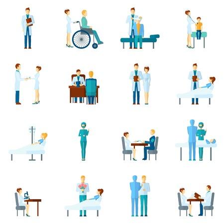 enfermeria: Personajes médico y las enfermeras establecen hospital y clínica personal profesional en uniforme aislado ilustración vectorial Vectores