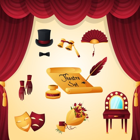 Theater entertainment and performance elements set with velvet curtain isolated vector illustration Illustration