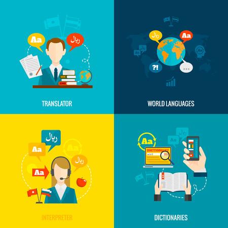 Wereldtalen vertaler tolk 4 vlakke pictogrammen samenstelling met computer elektronische mobiele woordenboeken abstract geïsoleerde vector illustratie