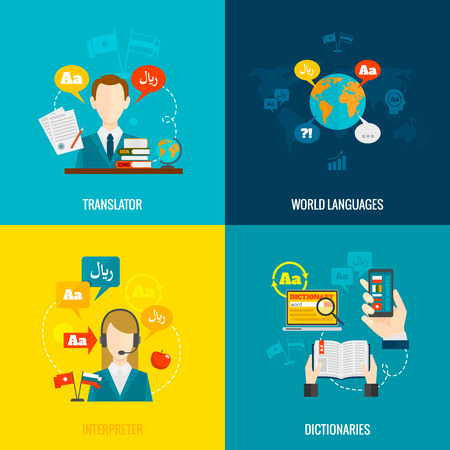 interpreter: World languages translator interpreter 4 flat  icons composition with computer electronic mobile dictionaries abstract  isolated vector illustration Illustration
