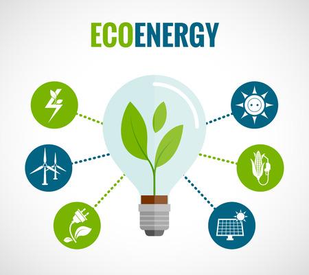 eficiencia: Solución de energía Eco cartel plana composición iconos circulares con molinos de viento y paneles solares símbolos abstracto ilustración vectorial