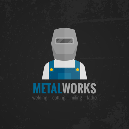 welding mask: Metal working factory welder machinery operator in uniform black background icon poster print flat abstract vector illustration