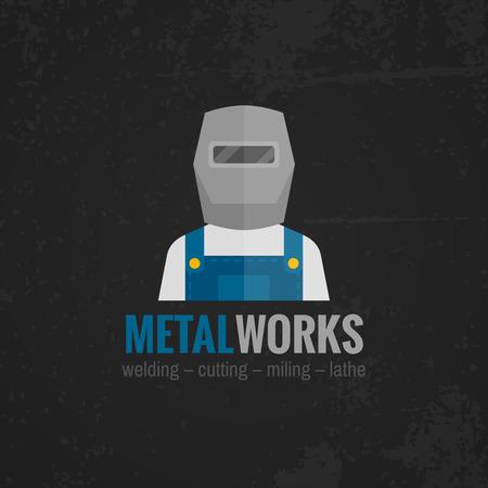 Operador de metales de trabajo fábrica de maquinaria soldador en negro icono de fondo del cartel de impresión uniforme plana ilustración vectorial abstracto Ilustración de vector