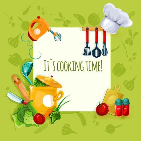 Kooktoestellen en restaurant gebruiksvoorwerp en voedsel achtergrond vector illustratie