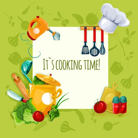 Cooking appliances and restaurant utensil and food background vector illustration