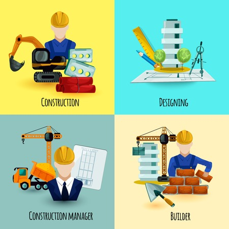 Architect design concept set with construction manager and builder icons isolated vector illustration Çizim