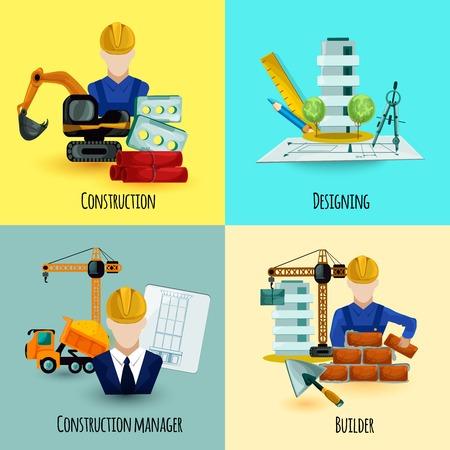 architect: Arquitecto concepto de diseño establece con gerente de construcción y constructor iconos ilustración vectorial aislado