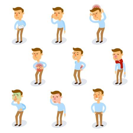 chory: Chore znaki ustawiane zdrowych dorosłych i osób z chorobami izolowane ilustracji wektorowych