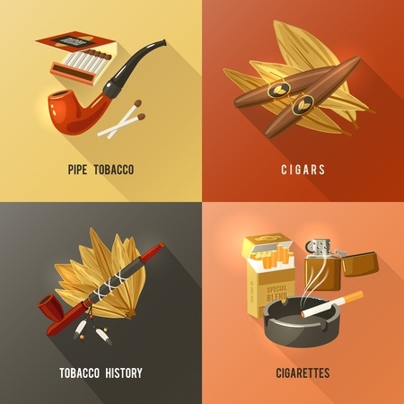 tobacco product: Tobacco design concept set with pipe cigars and cigarettes icons isolated vector illustration Illustration