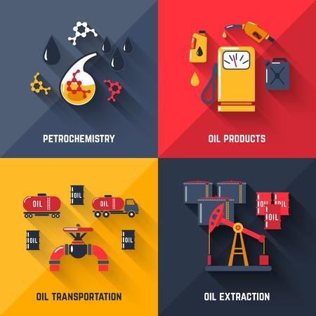 petrochemistry: Petr�leo concepto de dise�o conjunto con productos derivados del petr�leo petroqu�mica transporte y extracci�n de iconos planos aislados ilustraci�n vectorial