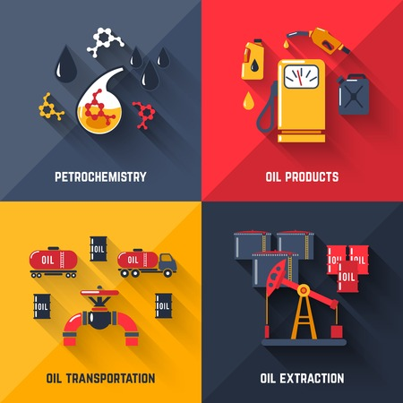 Petroleum design concept set with petrochemistry oil products transportation and extraction flat icons isolated vector illustration Çizim