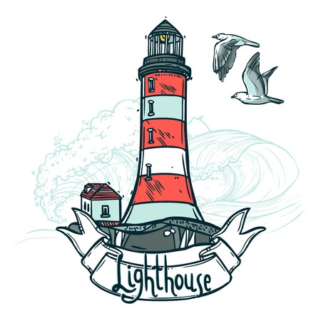Lighthouse sketch illustration with ribbon seagull and sea waves on background vector illustration
