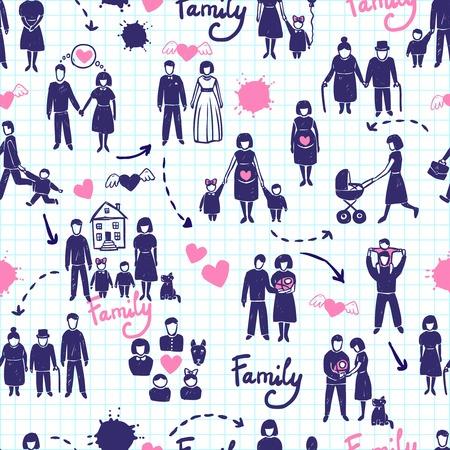 손으로 그린 결혼 커플 아이들과 부모 벡터 일러스트 레이 션 가족 원활한 패턴