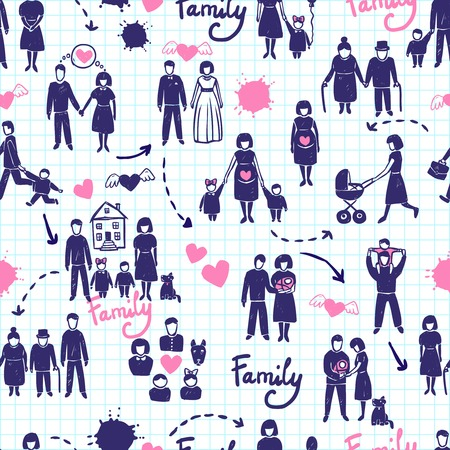 Family seamless pattern with hand drawn married couples kids and parents vector illustration