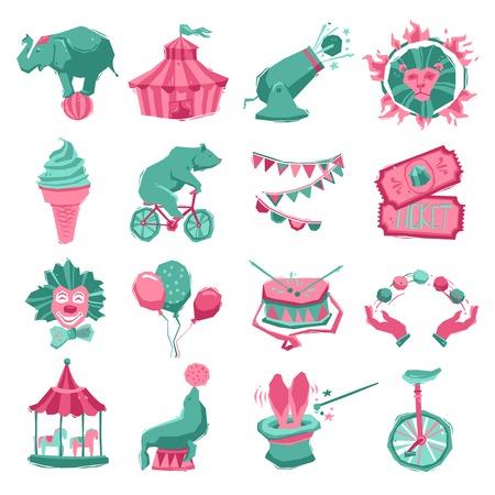 payaso: Circo icono decorativo establece con animales carnaval tienda payaso y malabarista ilustración vectorial aislado