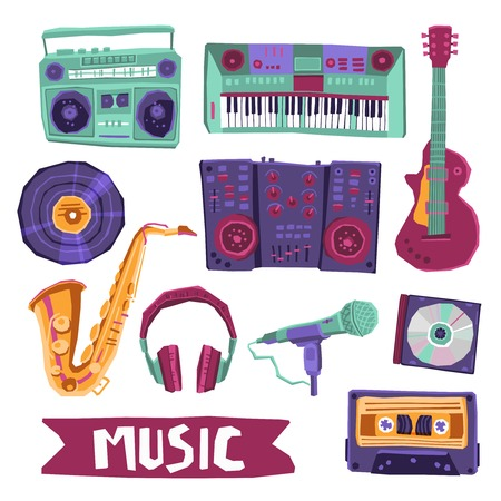 audio equipment: Music icon set with instruments and audio equipment isolated vector illustration
