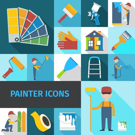 Maler Cartoon-Figur Mann Flach Schatten Piktogramme mit Eimer Pinsel-Set und Leiter abstrakten isolierten Vektor-Illustration Standard-Bild - 38304093