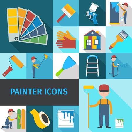 Painter cartoon character man flat shadow pictograms set with pail brush and ladder abstract isolated vector illustration