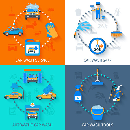 lavado: Lavado de coches completos instalaciones de servicio 24h autom�ticas con equipos sin contacto 4 composici�n iconos plana resumen ilustraci�n vectorial