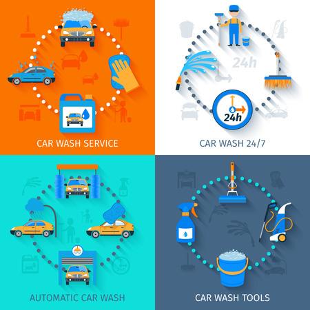 autolavaggio: Lavaggio auto complete strutture di servizio 24h automatiche con attrezzature touchless 4 piano composizione icone illustrazione vettoriale astratto