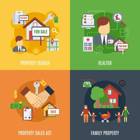 property: Real estate design concept set with family property search flat icons isolated vector illustration Illustration