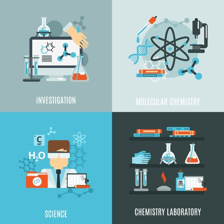 science icons: Chemistry science design concept with investigation laboratory flat icons isolated vector illustration