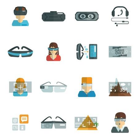gafas: Gafas de realidad �ptica auriculares virtuales iconos planos conjunto aislado ilustraci�n vectorial