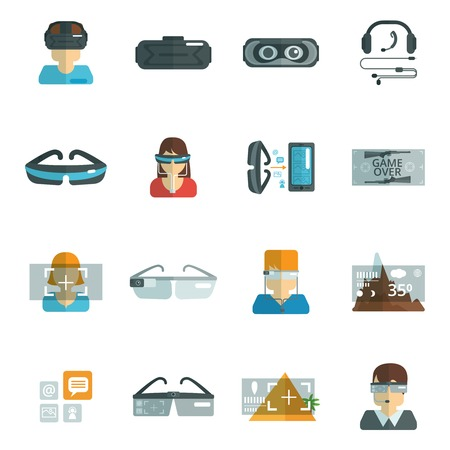 eyewear glasses: Virtual reality glasses headset optics flat icons set isolated vector illustration