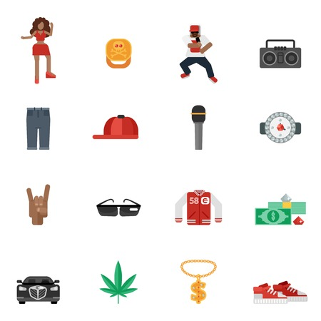 dj headphones: Rap and hip-hop street music flat icons set isolated vector illustration