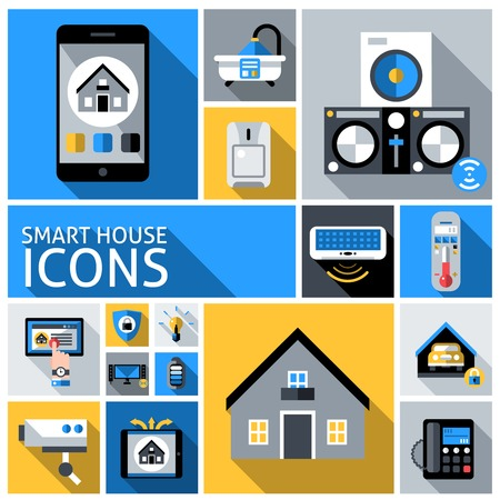 automated: Smart house automated household control system flat decorative icons set isolated vector illustration