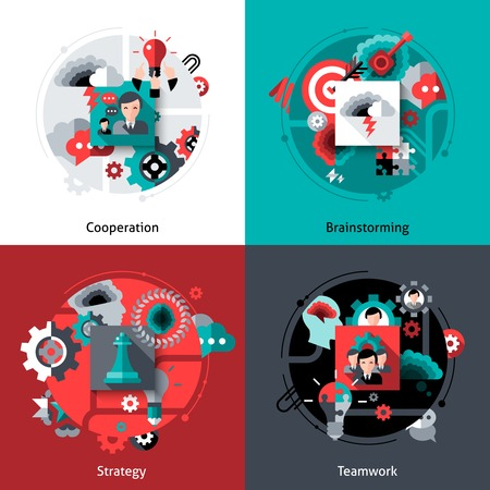 motivation: Teamwork design concept set with cooperation brainstorming strategy flat icons isolated vector illustration Illustration