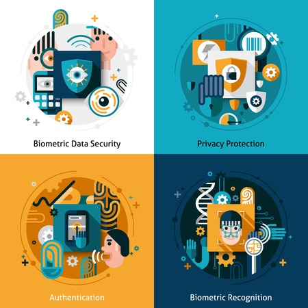 protección: Biometric concepto de dise�o de autenticaci�n establecido con la seguridad de datos protecci�n de la privacidad y el reconocimiento iconos planos aislados ilustraci�n vectorial