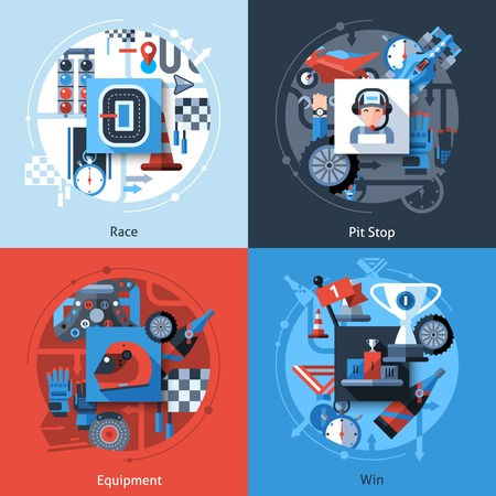 sports race: Racing design concept set with pit stop equipment win flat icons isolated vector illustration