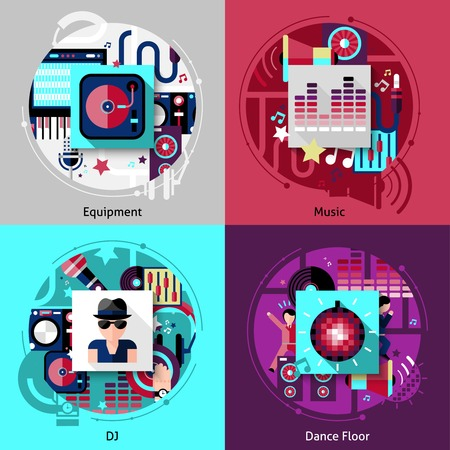 Dj design concept set with music equipment and dance floor flat icons isolated vector illustration Vector