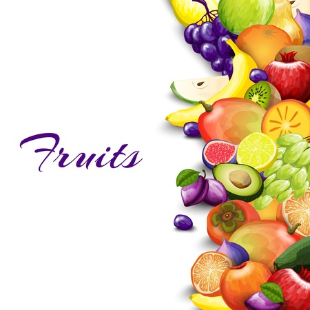 Natural summer market background with delicious fruits border vector illustration