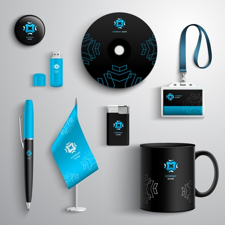 Corporate identity blue and black design set with cup pen cd and id card isolated vector illustration Illustration