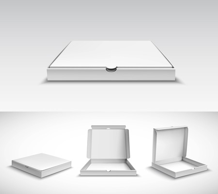 3d de pizza paquete de la caja de cartón blanca vacía realista establecer ilustración vectorial aislado