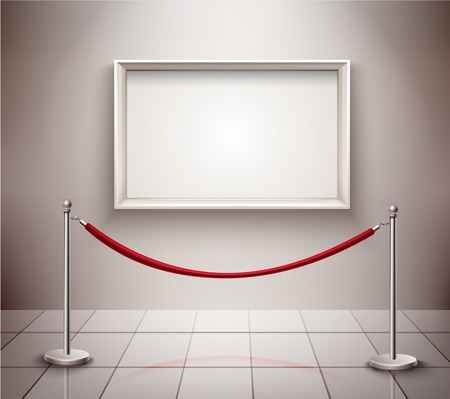 rope vector: White empty picture frame and rope stanchion realistic exhibition background vector illustration