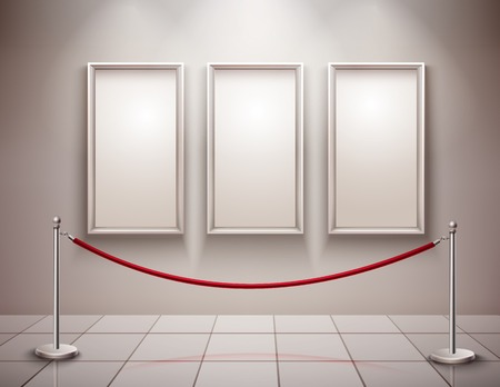 art museum: Three realistic empty picture frames with stanchion museum exhibition background vector illustration Illustration