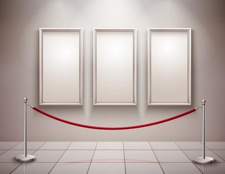 Trzy realistyczne puste ramki do zdjęć z wystawy kolumienki Muzeum tle ilustracji wektorowych