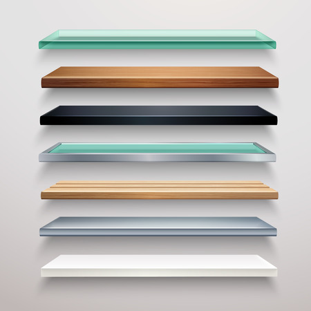 wooden shelf: Realistic metal glass wood and plastic bookstore shelves set isolated vector illustration