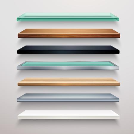 Realistische metalen glas hout en kunststof boekhandel planken set geïsoleerd vector illustratie
