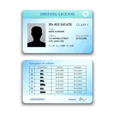 Realistische internationale plastic rijbewijs voor en achter template geïsoleerd vector illustratie