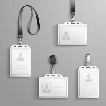 personal identity: Identificaci�n de blanco en blanco tarjetas de identificaci�n pl�sticas establecidos con cierre y cordones aislados ilustraci�n vectorial Vectores