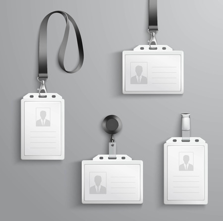 holders: Identification white blank plastic id cards set with clasp and lanyards isolated vector illustration