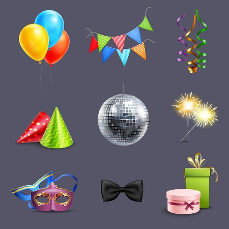 disco symbol: Realistic celebration icons set with balloons party ball and holiday gift boxes isolated vector illustration
